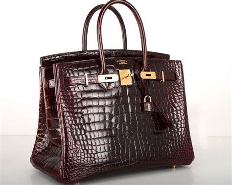 Bi Color Hermes Birkin Bag 35cm Bordeaux Crocodile Gold