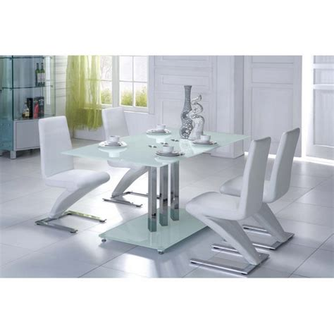 trilogy frosted glass dining table with 6 white d216
