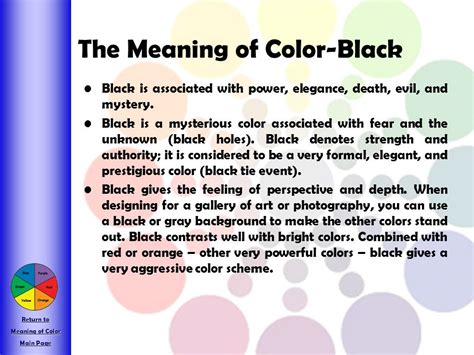 the meaning of the color black an introduction to the color wheel and color theory ppt