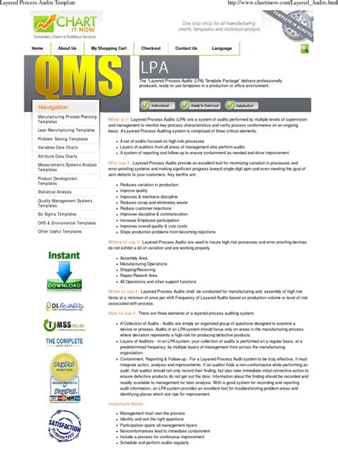 layered process audits template audit quality business