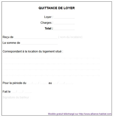 modèle quittance de loyer word la quittance de loyer