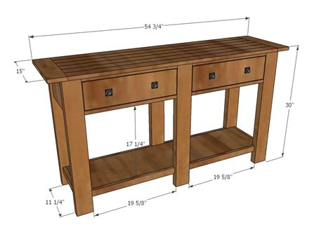entry hall table height ana white benchwright console table diy projects