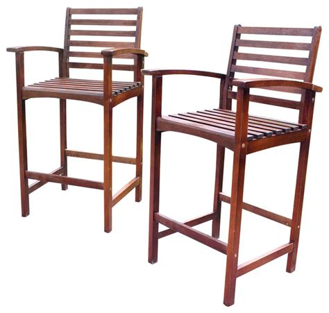 wood bar height patio chairs set of 2 traditional