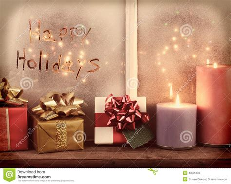 instagram happy holidays window stock photo image