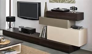 Meuble Tv Hifi : meuble tv bas hifi finition moderne weng avec surmeuble en option ~ Teatrodelosmanantiales.com Idées de Décoration