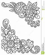 Corner Flowers Adult Line Coloring Drawing Printing Vignettes Dreamstime Template Templates Vector sketch template