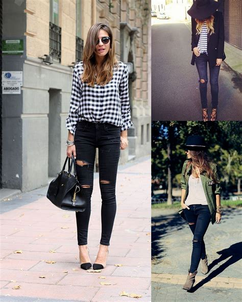 Fall Fashion: Black Distressed Skinny Jeans ...