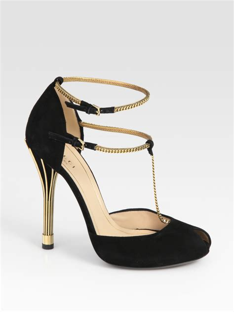 lyst gucci ophelie suede chain  strap sandals  black