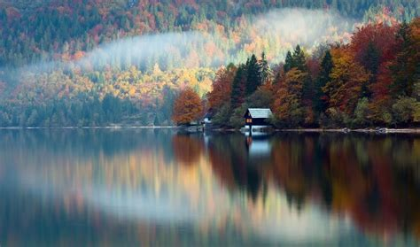 slovenia autumn october forest lake house reflection hd
