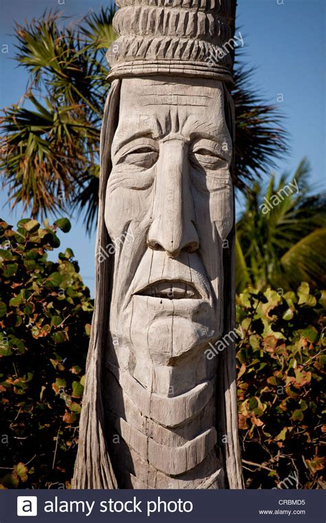totem pole  indian face   beach  fort lauderdale florida stock photo royalty