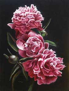 Japanese peony art, painting with demonstration of how it ...