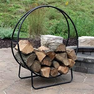 Sunnydaze, Log, Rack, 40, U0026quot, Black, Steel, Indoor, Outdoor, Log, Hoop, Firewood, Storage