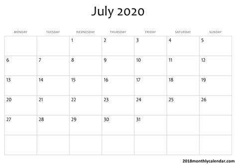 blank july calendar printable