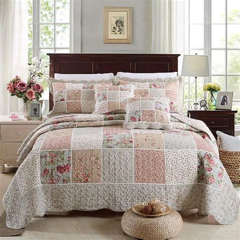 King Size Bed Coverlet by Luxury 100 Cotton Coverlet Bedspread Set Patchwork