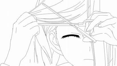 Anime Crying Drawing Lineart Hair Getdrawings Cutting