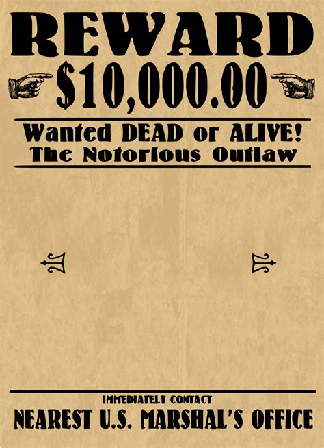 wanted dead or alive poster template free wanted poster blank by j4p4n this is one of those infamous wanted dead or alive cowboy style
