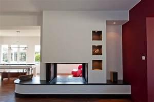 Cheminée Double Face : chemin e contemporaine sur mesure foyer ouvert double face ~ Preciouscoupons.com Idées de Décoration