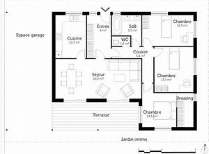 plan maison 90m2 plain pied 3 chambres 0 plan au sol With plan de maison 90m2 plain pied