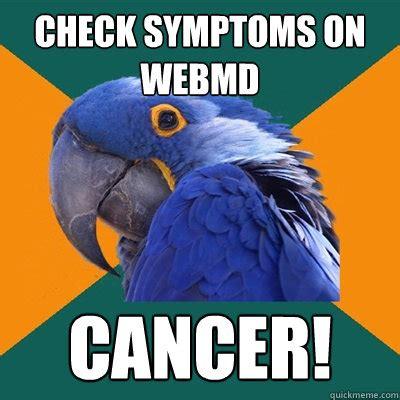 Webmd Memes - check symptoms on webmd cancer paranoid parrot quickmeme