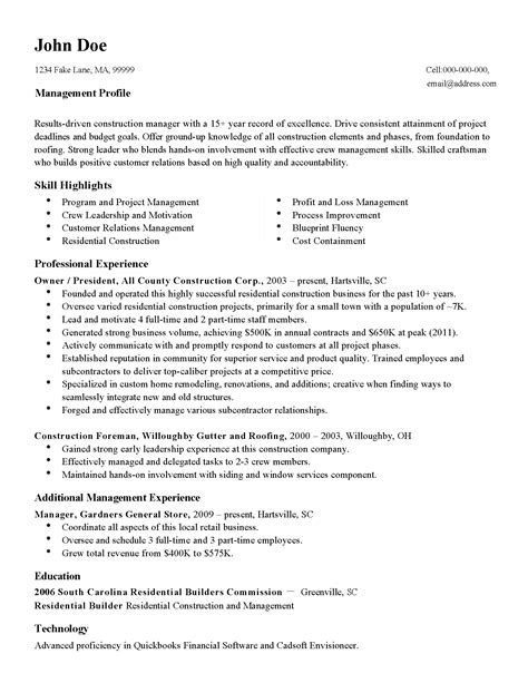 professional construction manager templates to showcase