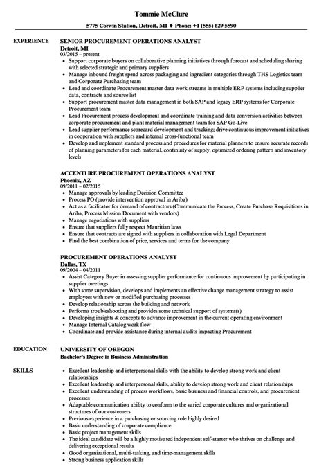 procurement operations analyst resume samples velvet jobs