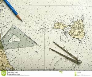 Nautical chart and divider stock image. Image of divider ...