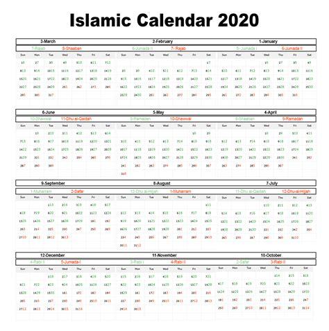Islamic Calendar 2020 12 Months