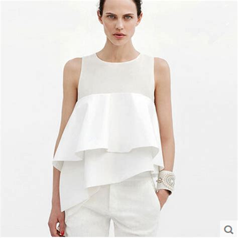 summer tops and blouses aliexpress com buy white sleeveless chiffon ruffle