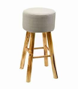 Tabouret De Bar Pied Bois : tabouret de bar en bois et tissu gris clair ~ Melissatoandfro.com Idées de Décoration