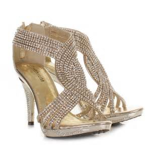 gold shoes wedding gold womens diamante wedding high heel prom shoes sandals size 3 8 ebay