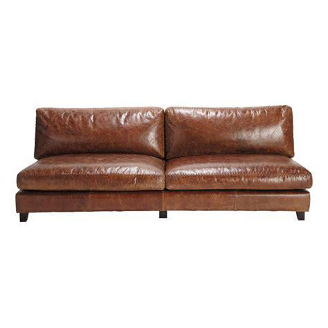 canap 233 vintage 2 3 places en cuir marron nevada maisons du monde