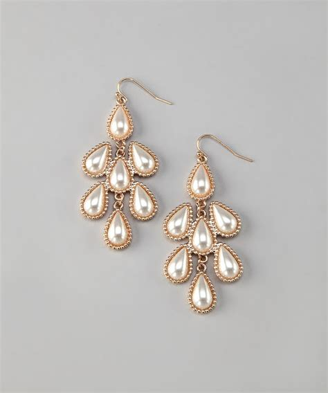 vintage gold pearl teardrop chandelier earrings