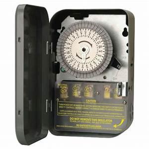Woods Indoor 120-Volt 40-Amp 24-Hour DPST Mechanical Time ...