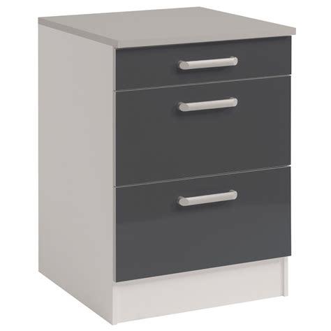meubles bas cuisine meuble bas de cuisine contemporain 60 cm 3 tiroirs blanc