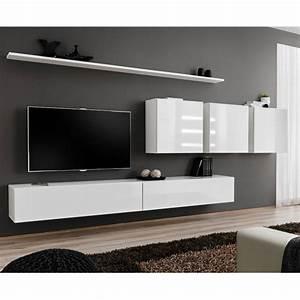 Meuble Tv Mural Blanc : meuble tv mural design switch vii 330cm blanc ~ Dailycaller-alerts.com Idées de Décoration