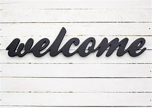 welcome sign wooden decor script letters custom colors With welcome wooden letters