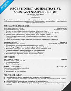 sample resume receptionist administrative assistant free With free administrative assistant resume templates