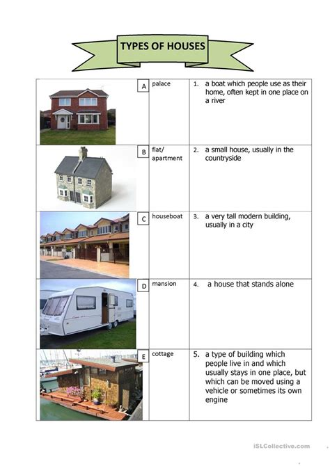 types  houses english esl worksheets  distance