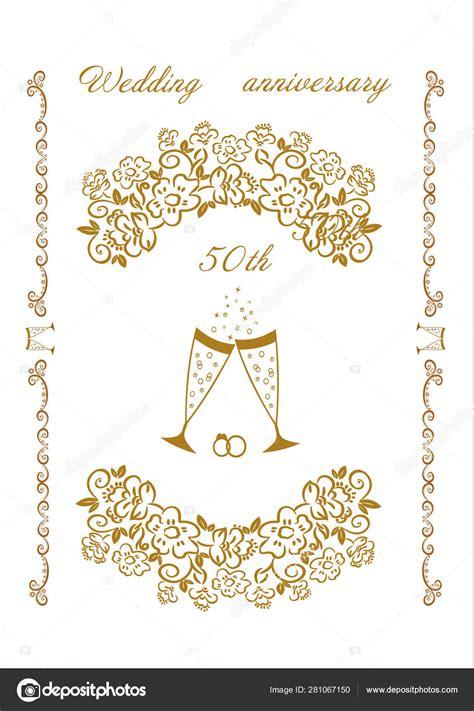 50th Wedding golden anniversary Invitation Stock Vector