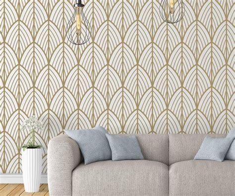 art deco leaves wallpaper outlines mid century