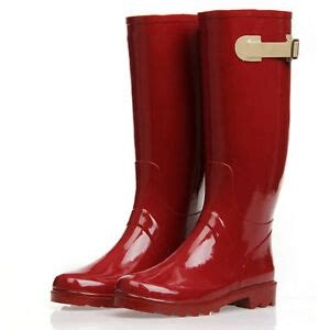 fashion rubber pull  tall rain boots red snow boots
