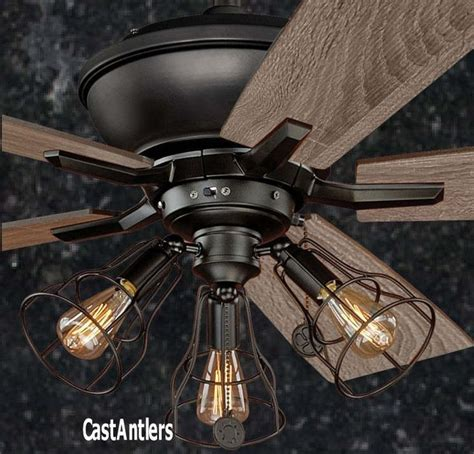 ceiling fans with good lighting 52 quot edison rustic ceiling fan w industrial cage light