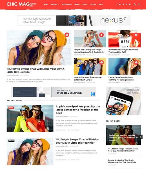 Templates Entertainment Blog by Chicmag Template Free Download