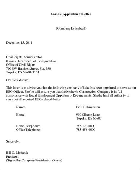 company appointment letter templates samples