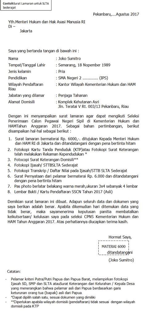 format terbaru contoh surat lamaran cpns kementerian hukum