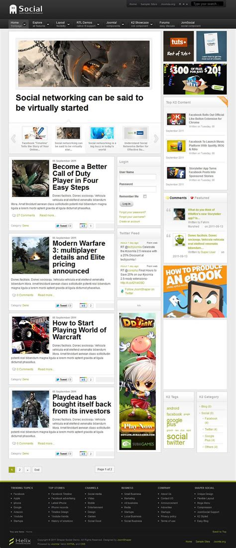 social networking templates php joomshaper social v1 0 0 the community template for joomla