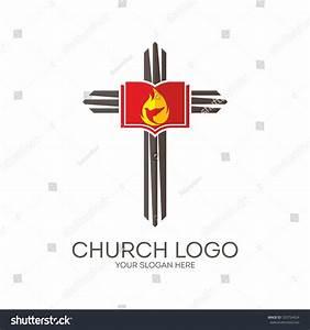Church Logo. Cross, Flame, Dove And Bible. Stock Vector ...