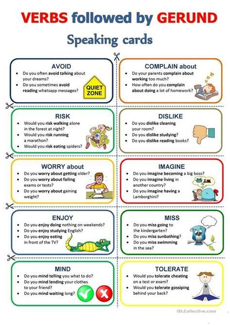 gerund speaking cards speaking activities english