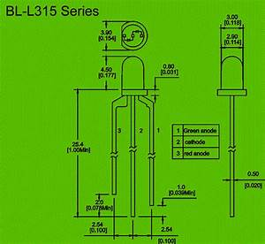 3mm Diode Led Bicolore  3 P U0444les Circuit And Dimension