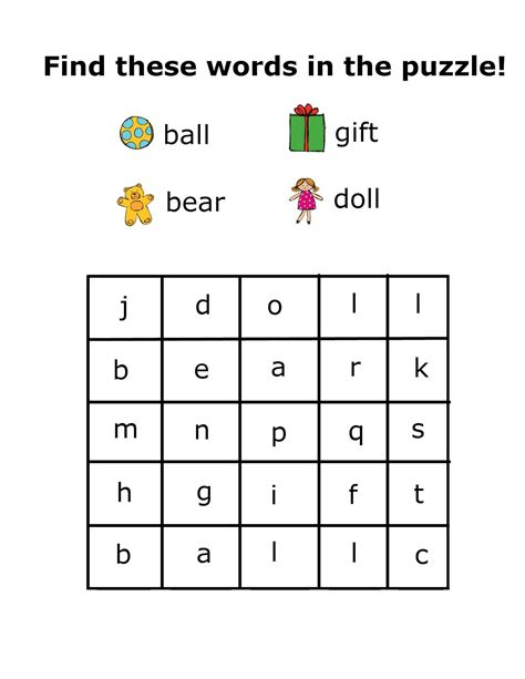 Simple Word Search For Preschool  Kiddo Shelter